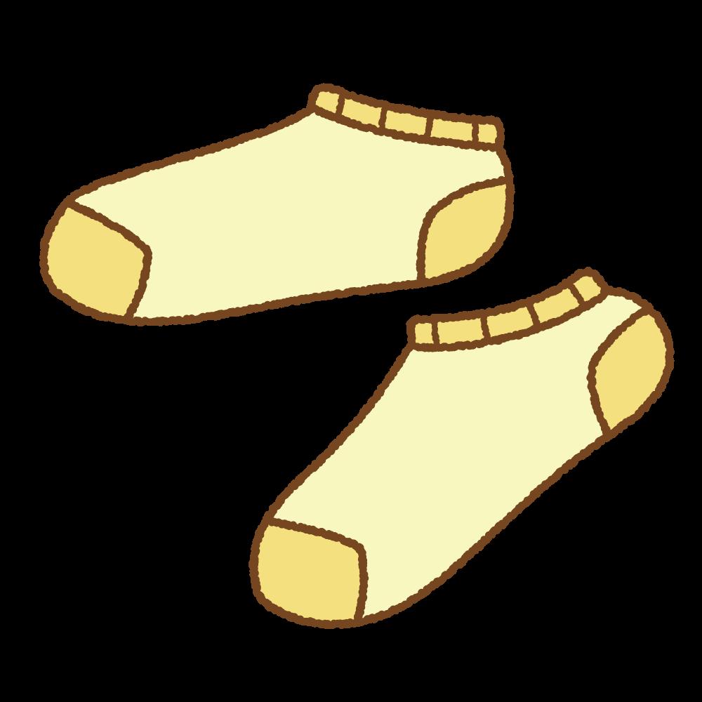 黄色いスニーカーソックスのフリーイラスト Clip art of ankle socks