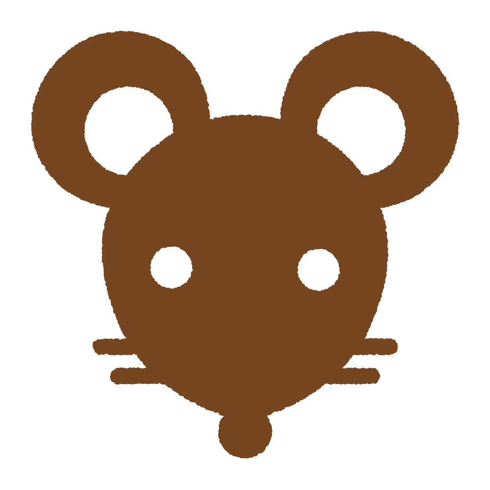 ネズミの顔のシルエット Clip art of mouse face silhouette