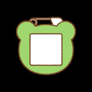 かえるの名札のフリーイラスト Clip art of frog name tag