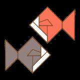 金魚の折り紙のフリーイラスト Clip art of origami-kingyo