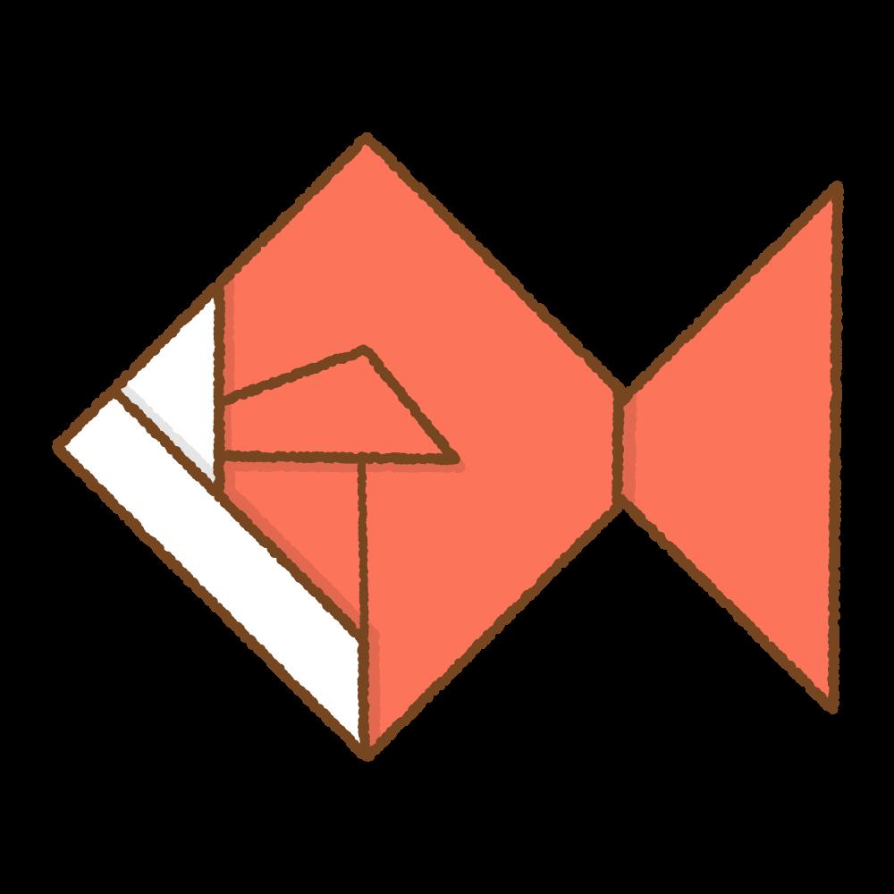 赤い金魚の折り紙のフリーイラスト Clip art of red origami kingyo