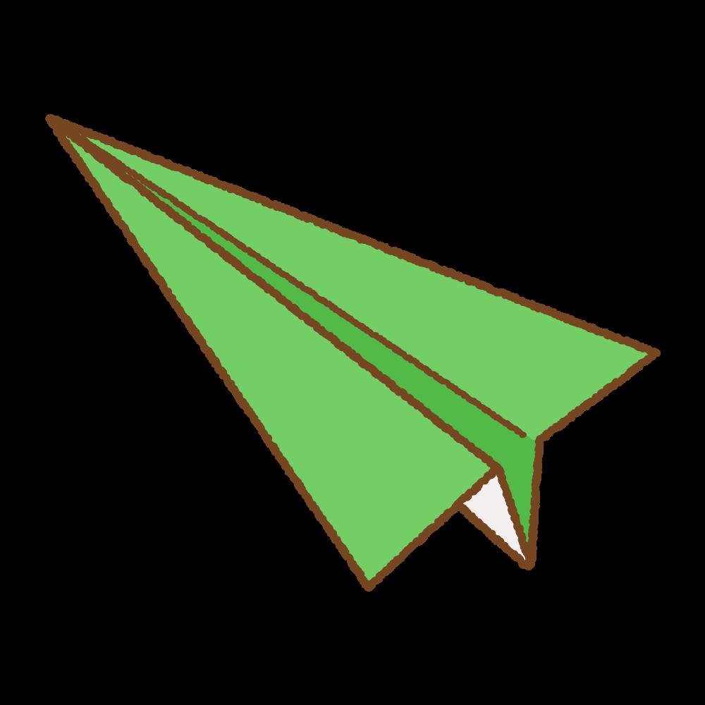 緑の紙飛行機のフリーイラスト Clip art of green paper plane