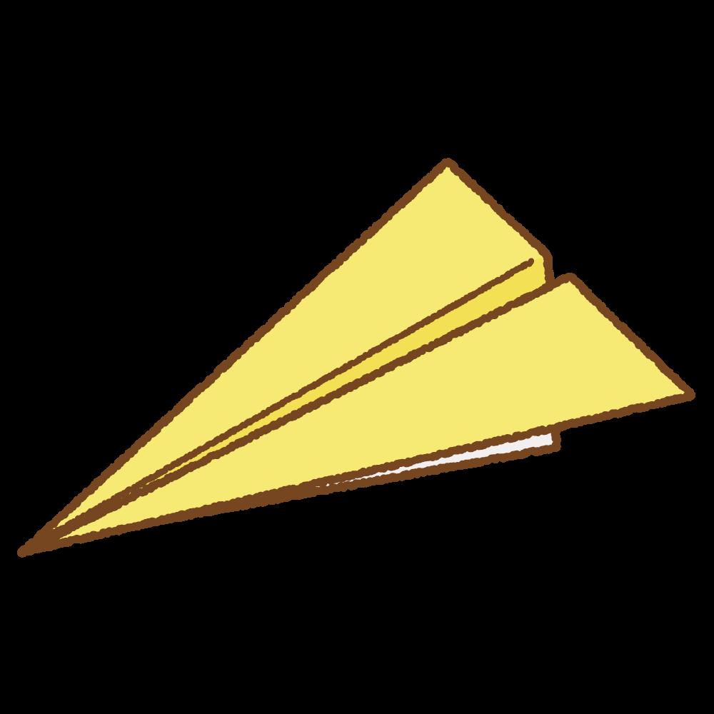 黄色い紙飛行機のフリーイラスト Clip art of yellow paper plane