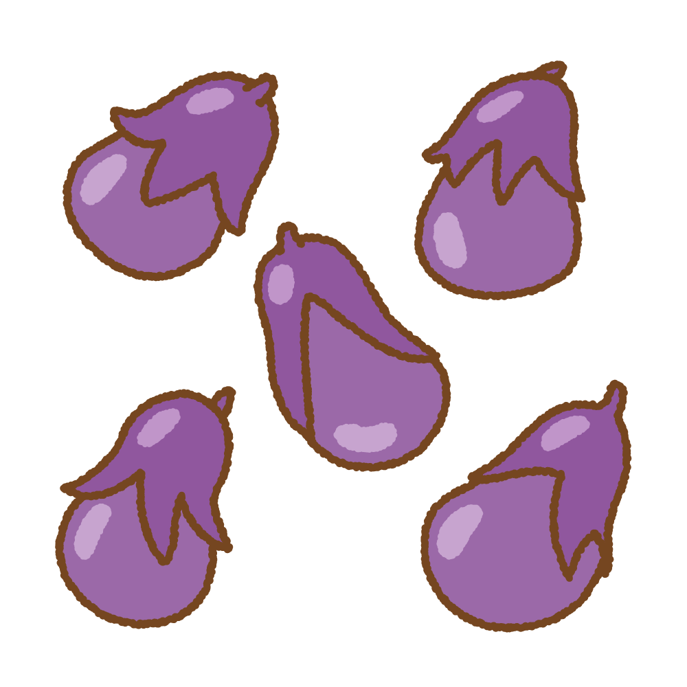 小ナスのフリーイラスト Clip art of small-eggplant