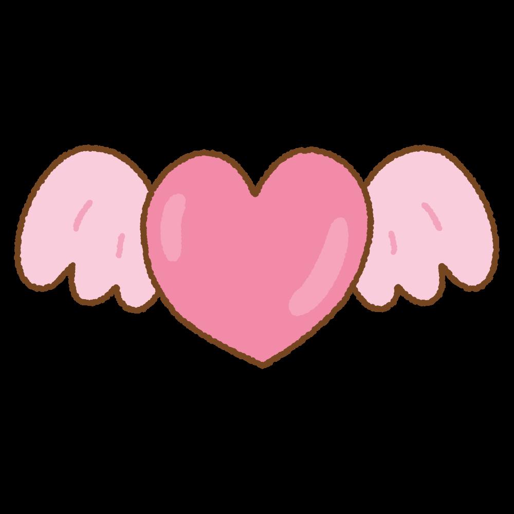 羽根のついたハートのフリーイラスト Clip art of wing-heart-mark