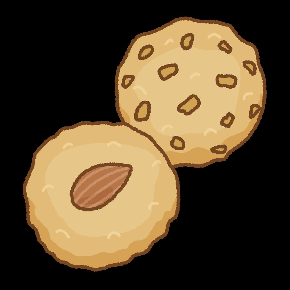 アーモンドクッキーのフリーイラスト Clip art of almond cookies