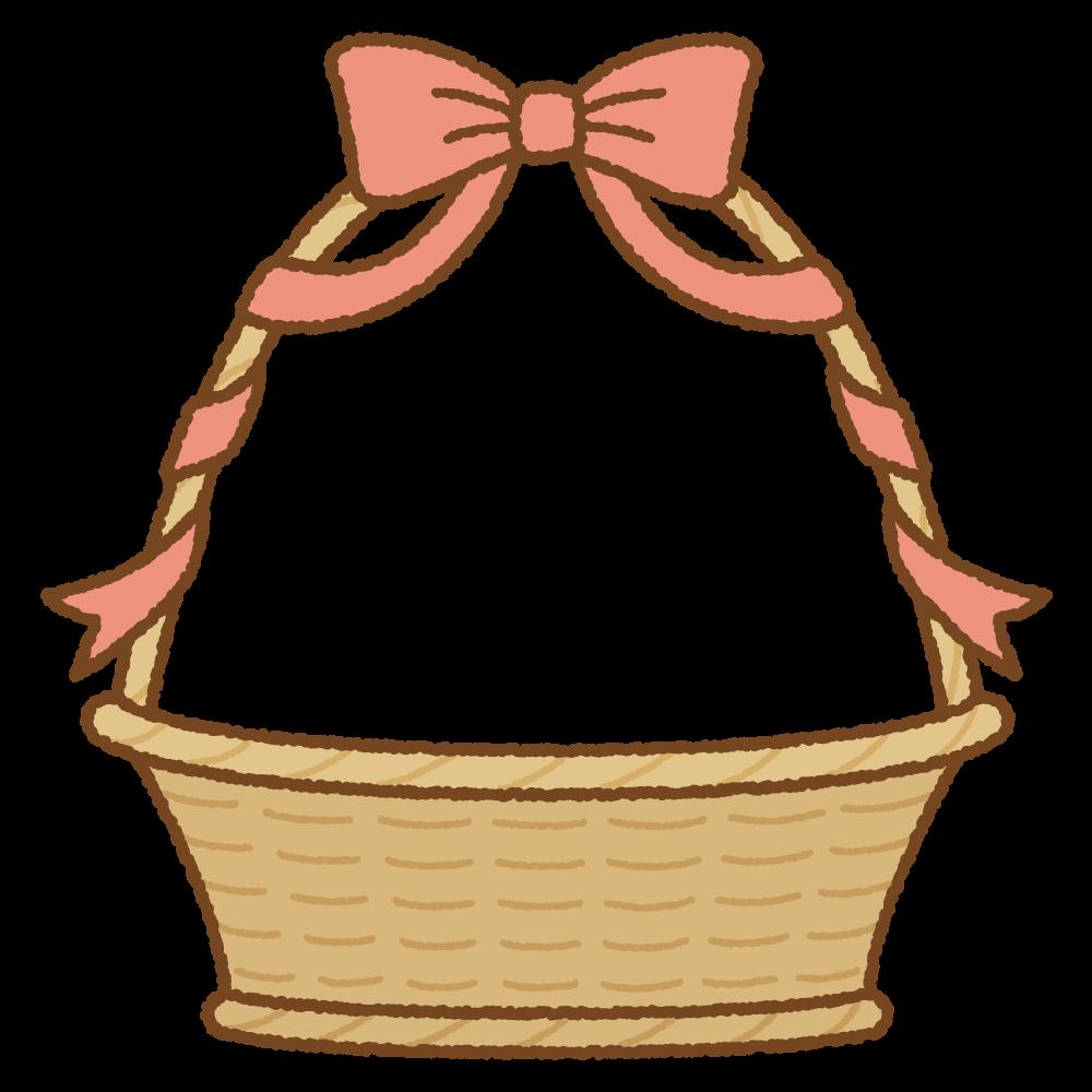 リボンが巻かれたバスケットのフリーイラスト Clip art of ribbon basket