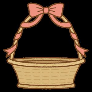 リボンが巻かれたバスケットのフリーイラスト Clip art of basket ribbon
