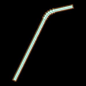緑の曲がるストローのフリーイラスト Clip art of green bendy drinking straw