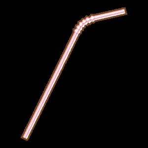 赤い曲がるストローのフリーイラスト Clip art of red bendy drinking straw