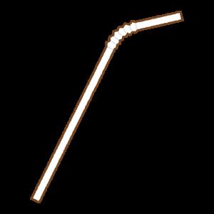 白の曲がるストローのフリーイラスト Clip art of white bendy drinking straw