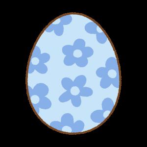 青い花柄のイースターエッグのフリーイラスト Clip art of blue floral easter egg