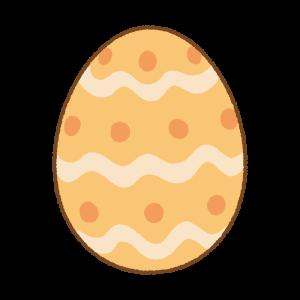 オレンジのイースターエッグのフリーイラスト Clip art of orange easter egg