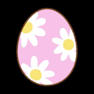 花柄のイースターエッグのフリーイラスト Clip art of floral easter egg