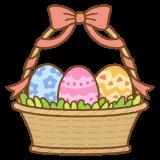バスケットに入ったイースターエッグのフリーイラスト Clip art of easter-egg basket