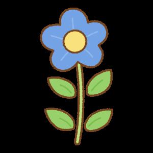 青い花のフリーイラスト Clip art of blue flower