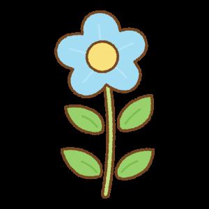 水色の花のフリーイラスト Clip art of light-blue flower