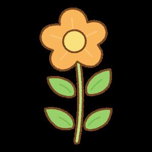 オレンジの花のフリーイラスト Clip art of orange flower
