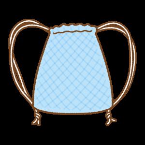 青いナップサックのフリーイラスト Clip art of blue knapsack