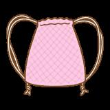 ピンクのナップサックのフリーイラスト Clip art of pink knapsack