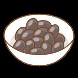 黒豆煮のフリーイラスト Clip art of kuromame-ni