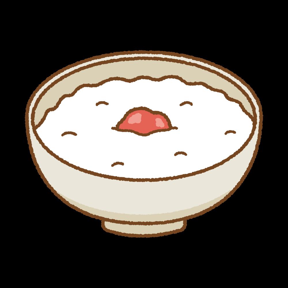 梅干し入りのおかゆのフリーイラスト Clip art of okayu