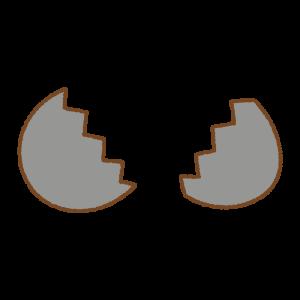 黒いタマゴのフリーイラスト Clip art of black egg open