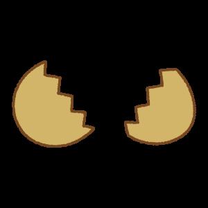 茶色のタマゴのフリーイラスト Clip art of brown egg open