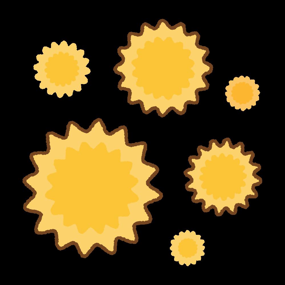 花粉のフリーイラスト Clip art of pollens