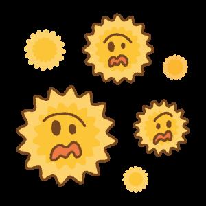 慌てる花粉のキャラクターたちのフリーイラスト Clip art of panic pollens