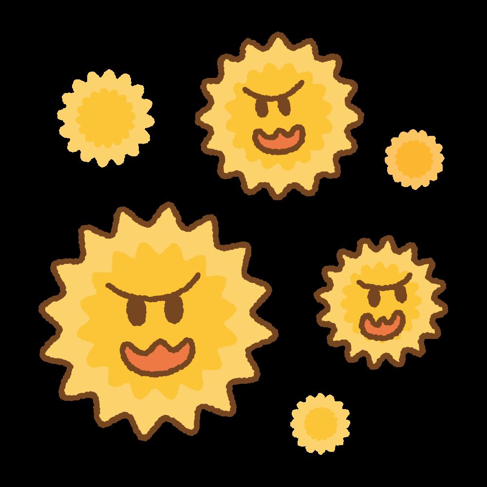 花粉のキャラクターたちのフリーイラスト Clip art of pollens chara