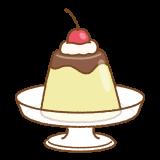 チェリーがのったプリンのフリーイラスト Clip art of cherry pudding