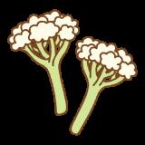 スティックカリフラワーのフリーイラスト Clip art of stick cauliflower