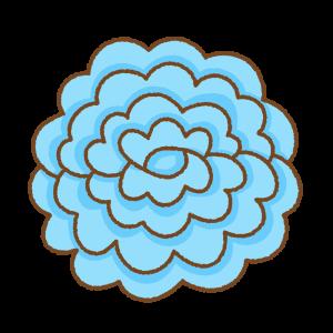 青いお花紙のフリーイラスト Clip art of blue tissue paper flower