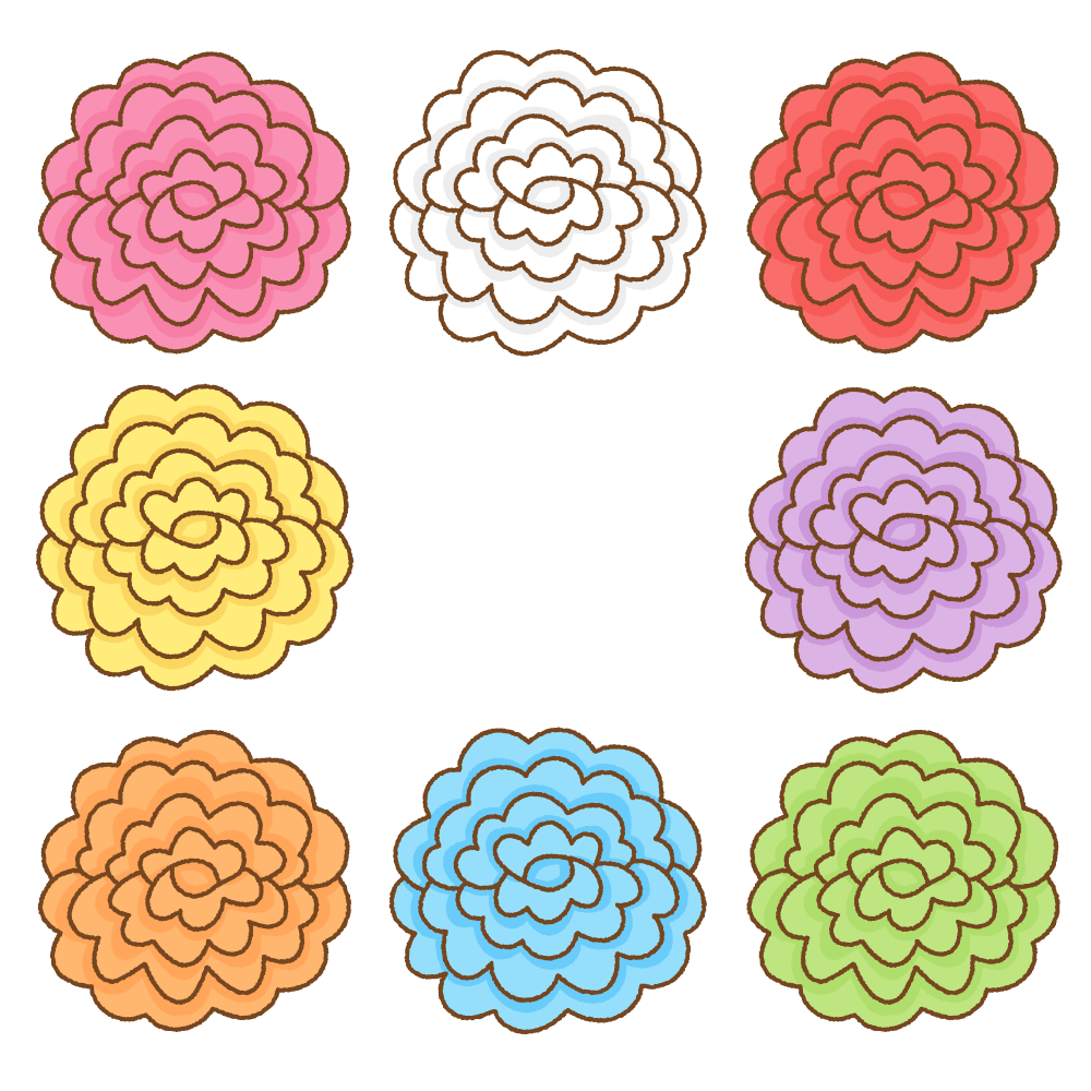 お花紙のフリーイラスト Clip art of tissue paper flower