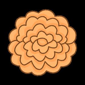 オレンジのお花紙のフリーイラスト Clip art of orange tissue paper flower