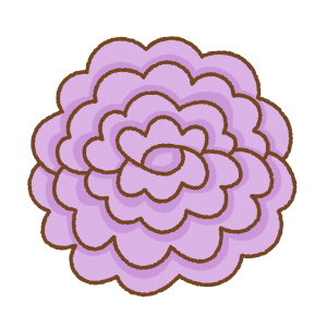 紫のお花紙のフリーイラスト Clip art of purple tissue paper flower