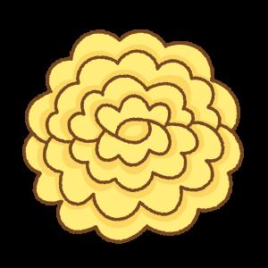 黄色いお花紙のフリーイラスト Clip art of yellow tissue paper flower