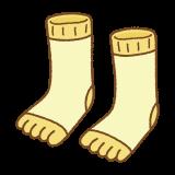 黄色の五本指ソックスのフリーイラスト Clip art of yellow toe socks