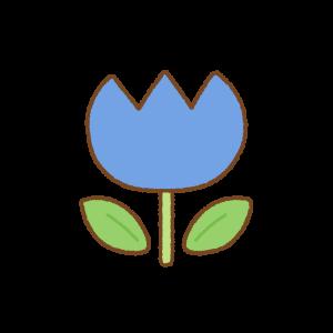 青いチューリップのフリーイラスト Clip art of blue tulip