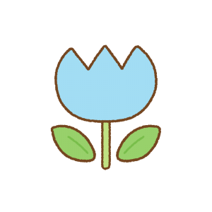 水色のチューリップのフリーイラスト Clip art of light-blue tulip