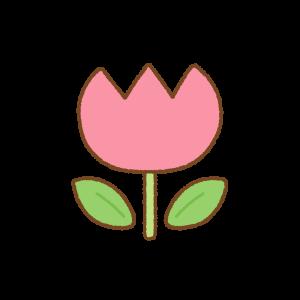 ピンクのチューリップのフリーイラスト Clip art of pink tulip