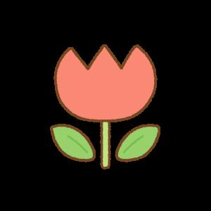 赤いチューリップのフリーイラスト Clip art of red tulip
