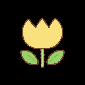 黄色いチューリップのフリーイラスト Clip art of yellow tulip