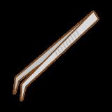 先曲がりピンセットのフリーイラスト Clip art of tweezers