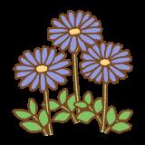 ブルーデイジーのフリーイラスト Clip art of blue daisy
