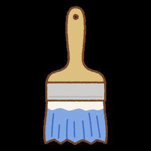 青いペンキ刷毛のフリーイラスト Clip art of blue paint brush
