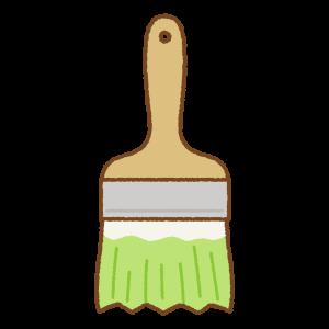 黄緑のペンキ刷毛のフリーイラスト Clip art of light-green paint brush