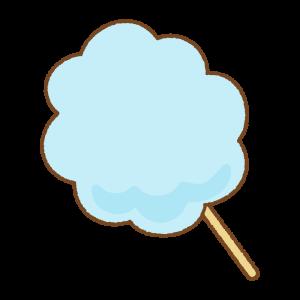 青いわたあめのフリーイラスト Clip art of blue cotton candy