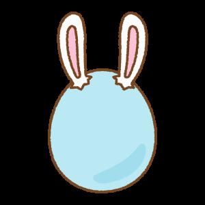 青いうさ耳タマゴのフリーイラスト Clip art of blue rabbit-ears-egg